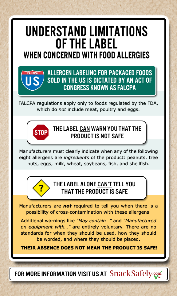 Snack Safely food label chart | When Peanuts Attack