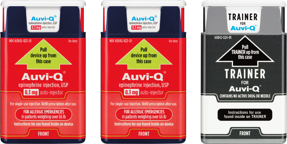 Auvi-Q epinephrine autoinjectors and trainer by kaléo